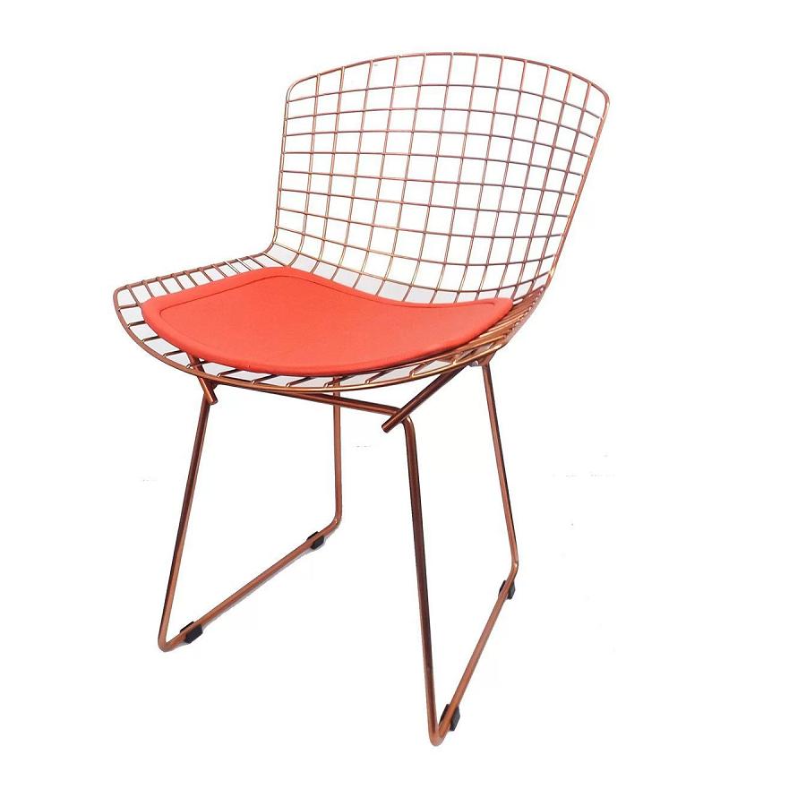 Cadeira Bertóia Aramado Rose Assento Vermelho