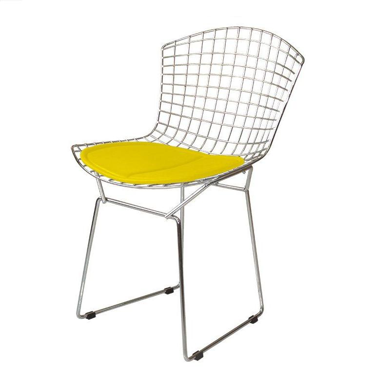 Cadeira Bertóia Aramado Cromado Assento Amarelo