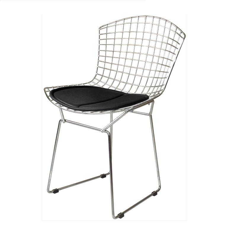 Cadeira Bertóia Aramado Cromado Assento Preto