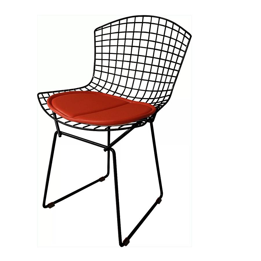 Cadeira Bertóia Aramado Preto Assento Vermelho