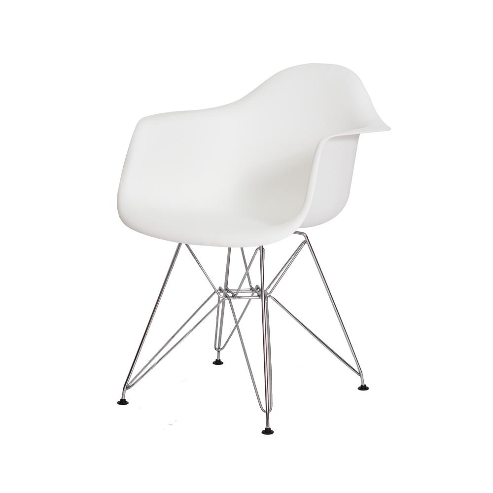 Cadeira Eiffel Com Braço Polipropileno Branco Pé Cromado