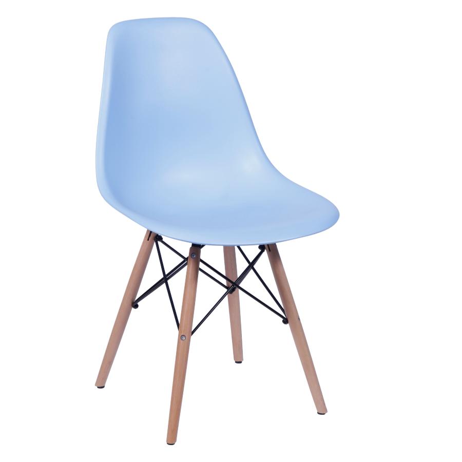 Cadeira Eiffel Eames Polipropileno Azul Bebe Pé Madeira