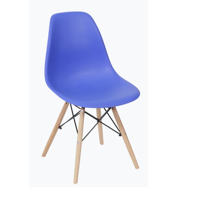 Cadeira Eiffel Eames Polipropileno Azul Escuro Pé Madeira
