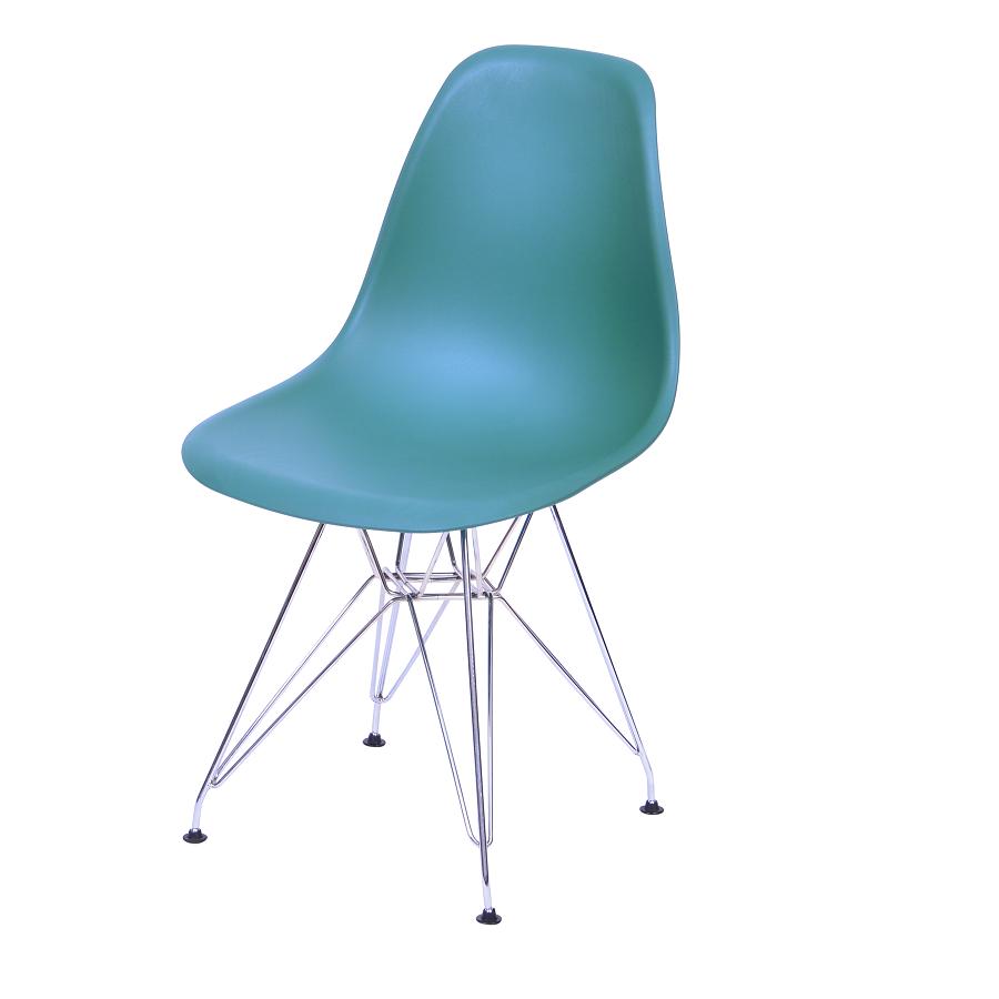 Cadeira Eiffel Eames Polipropileno Azul Petróleo Pé Cromado