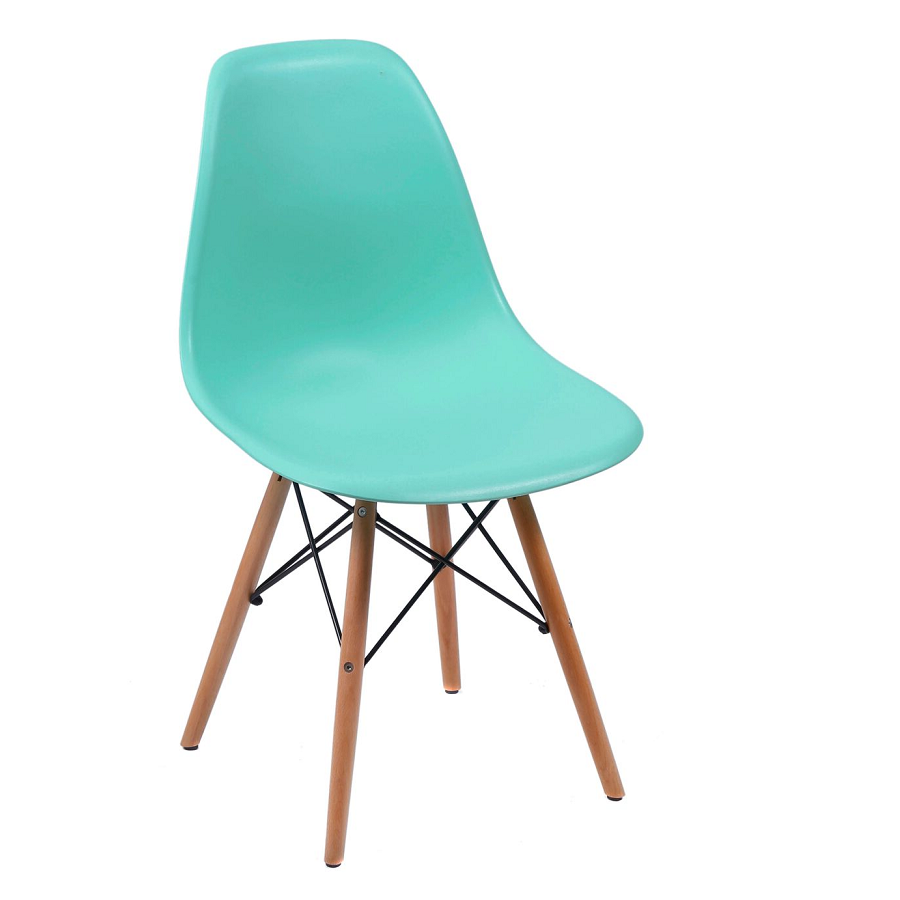 Cadeira Eiffel Eames Polipropileno Verde Tiffany Pé Madeira