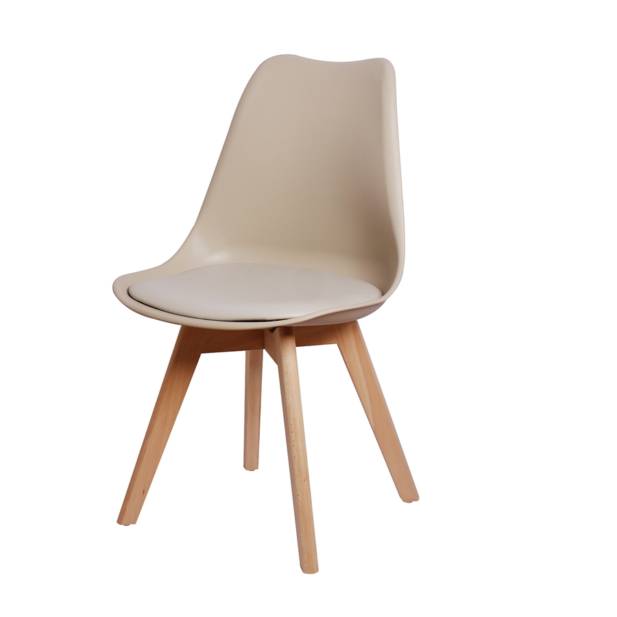 Cadeira Leda Eames Polipropileno Fendi Pé Madeira