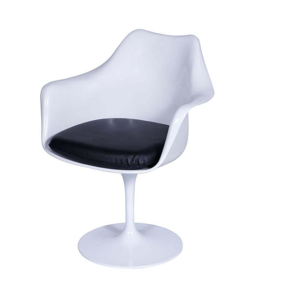 Cadeira Saarinen com braço Branca Almofada Preta