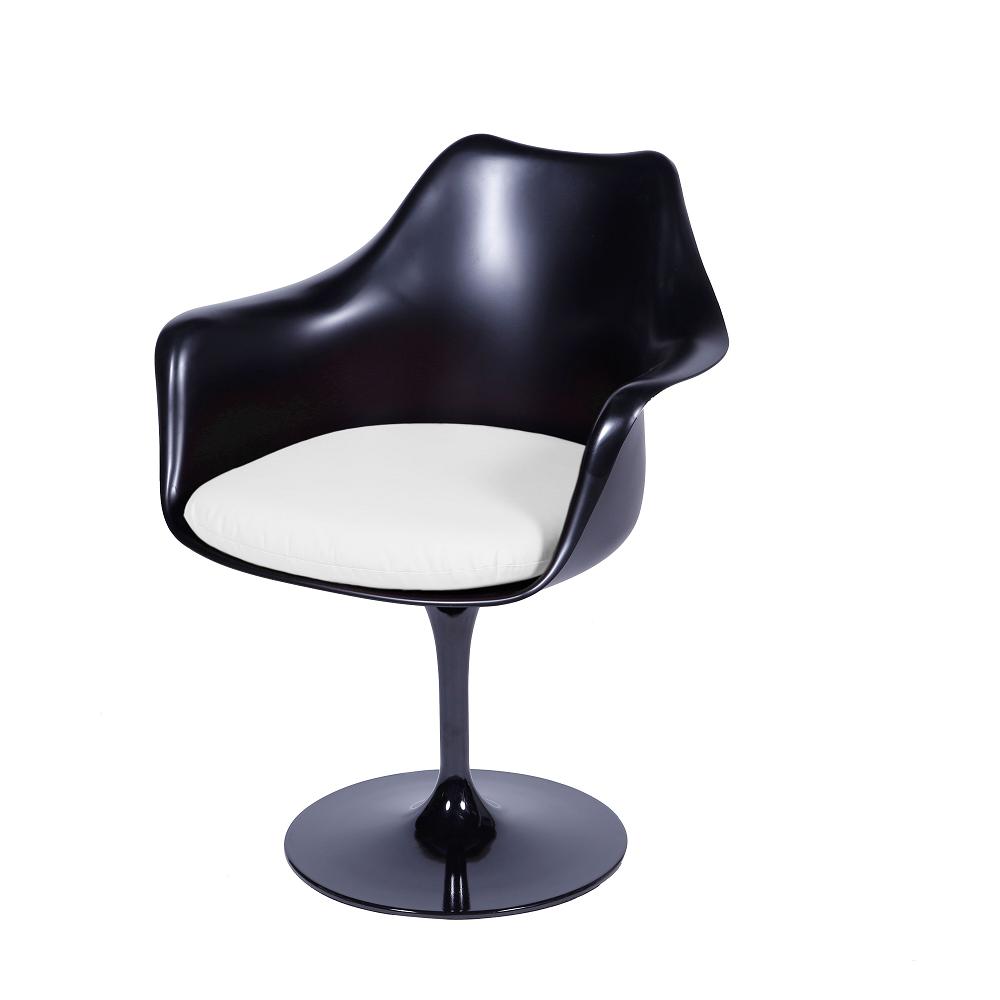 Cadeira Saarinen com braço Preta Almofada Branca