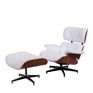 Poltrona Charles Eames Com Puff - Couro Natural Branco