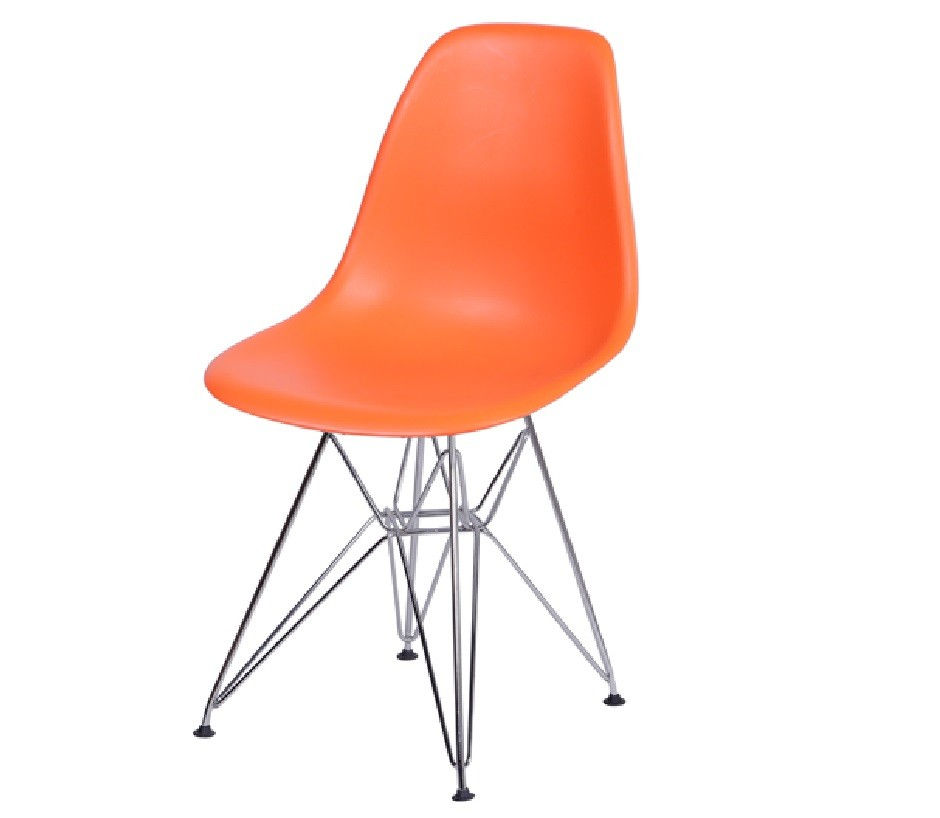Cadeira Eiffel Eames Polipropileno Laranja Pé Cromado