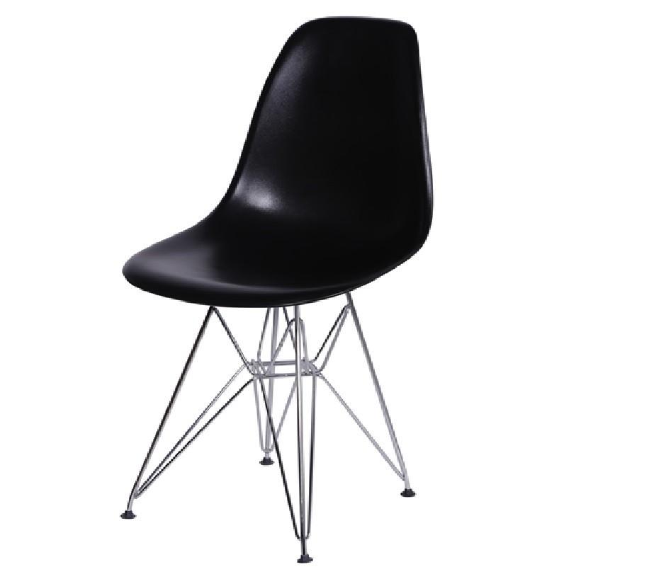 Cadeira Eiffel Eames Polipropileno Preto Pé Cromado