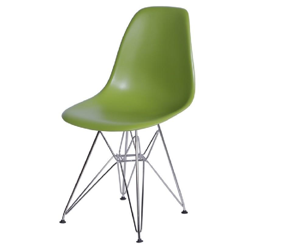Cadeira Eiffel Eames Polipropileno Verde Pé Cromado
