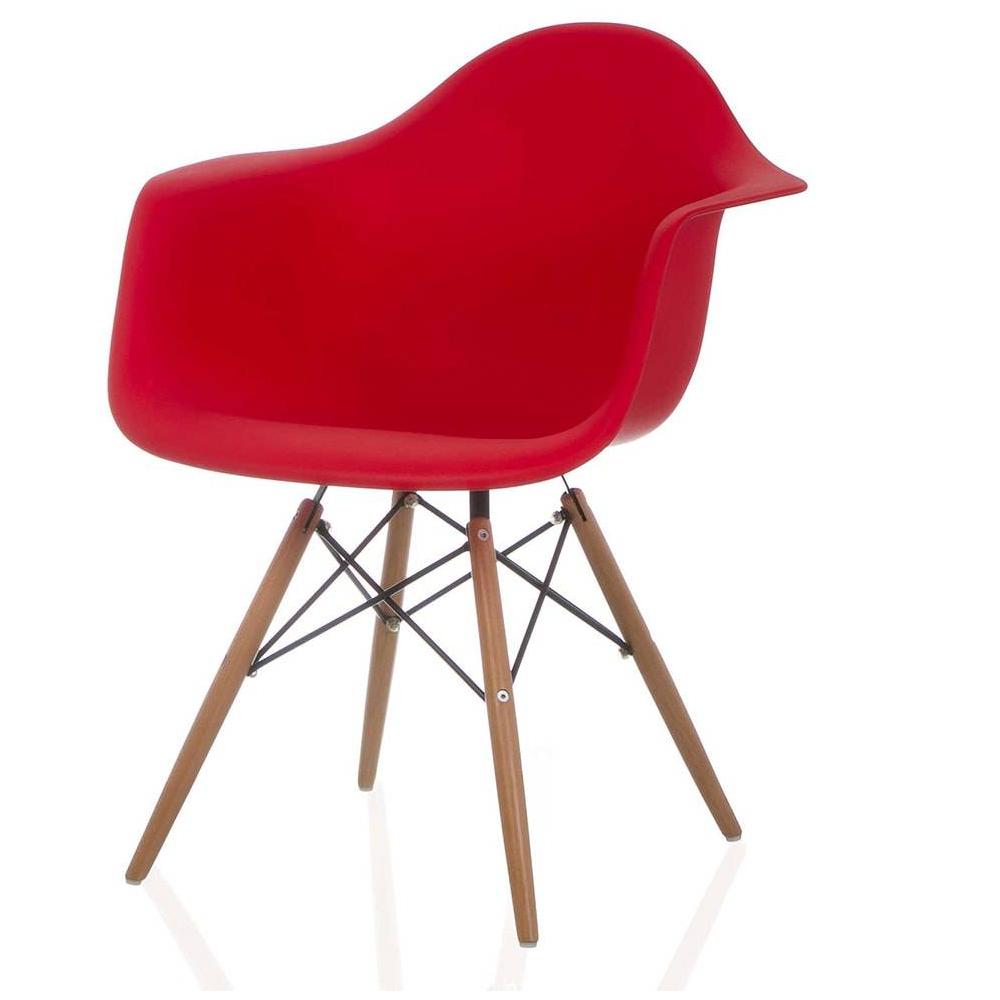 Cadeira Eiffel Com Braço Polipropileno Vermelho  Pé De Madeira