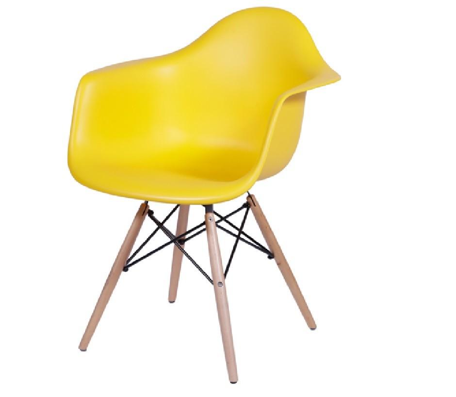 Cadeira Eiffel Com Braço Polipropileno Amarela Pé De Madeira