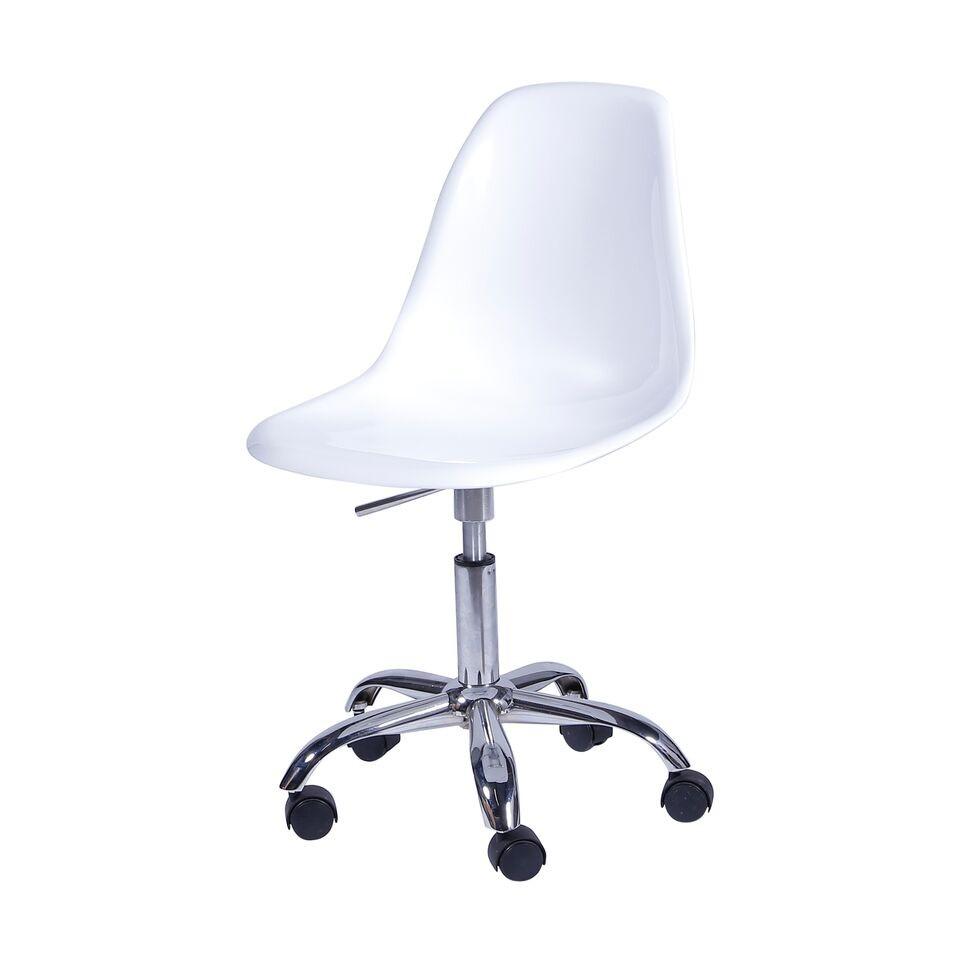 Cadeira Eiffel Polipropileno Branco Pé De Rodizio