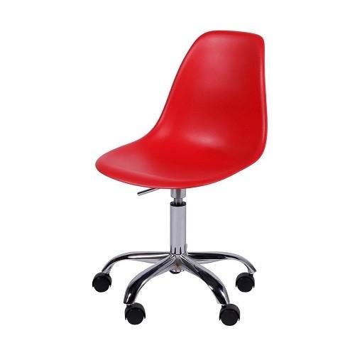 Cadeira Eiffel Polipropileno Vermelho Pé De Rodizio