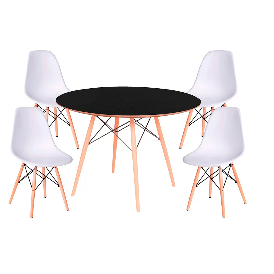 Conjunto Mesa Jantar Eames Eiffel 0,80cm Com 4 Cadeiras Eames Eiffel Branca