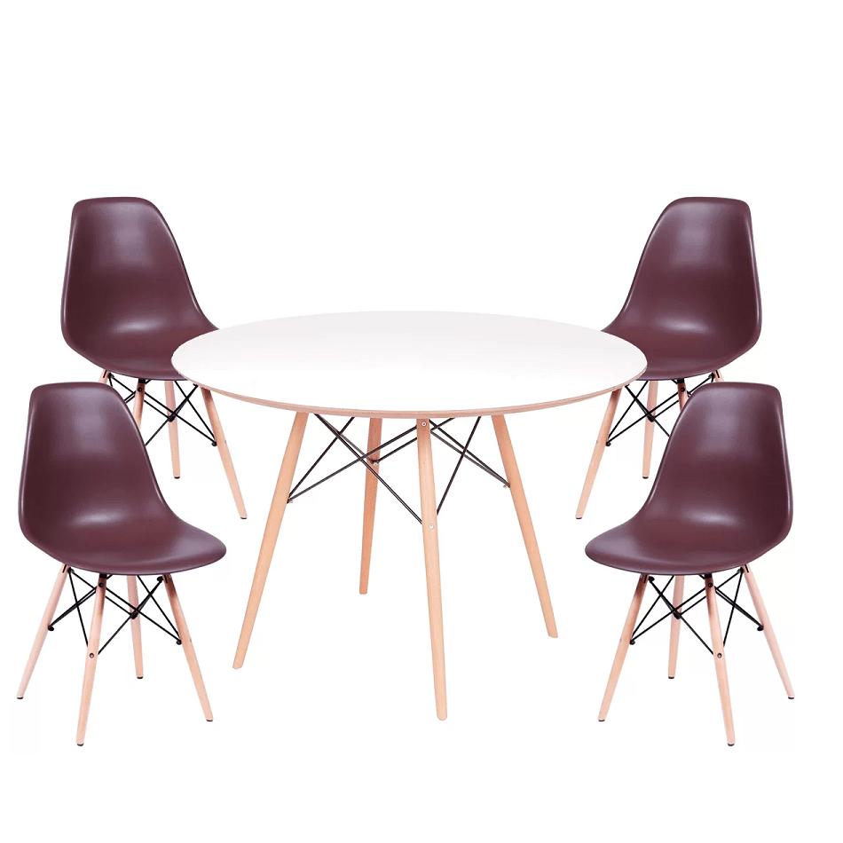 Conjunto Mesa Jantar Eames Eiffel 1,20cm + 4 Cadeiras Eames Eiffel Café