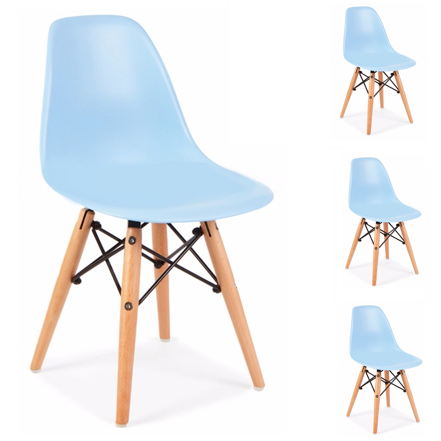 Conjunto 4 Cadeiras Charles Eames Eiffel Wood Azul Bebe