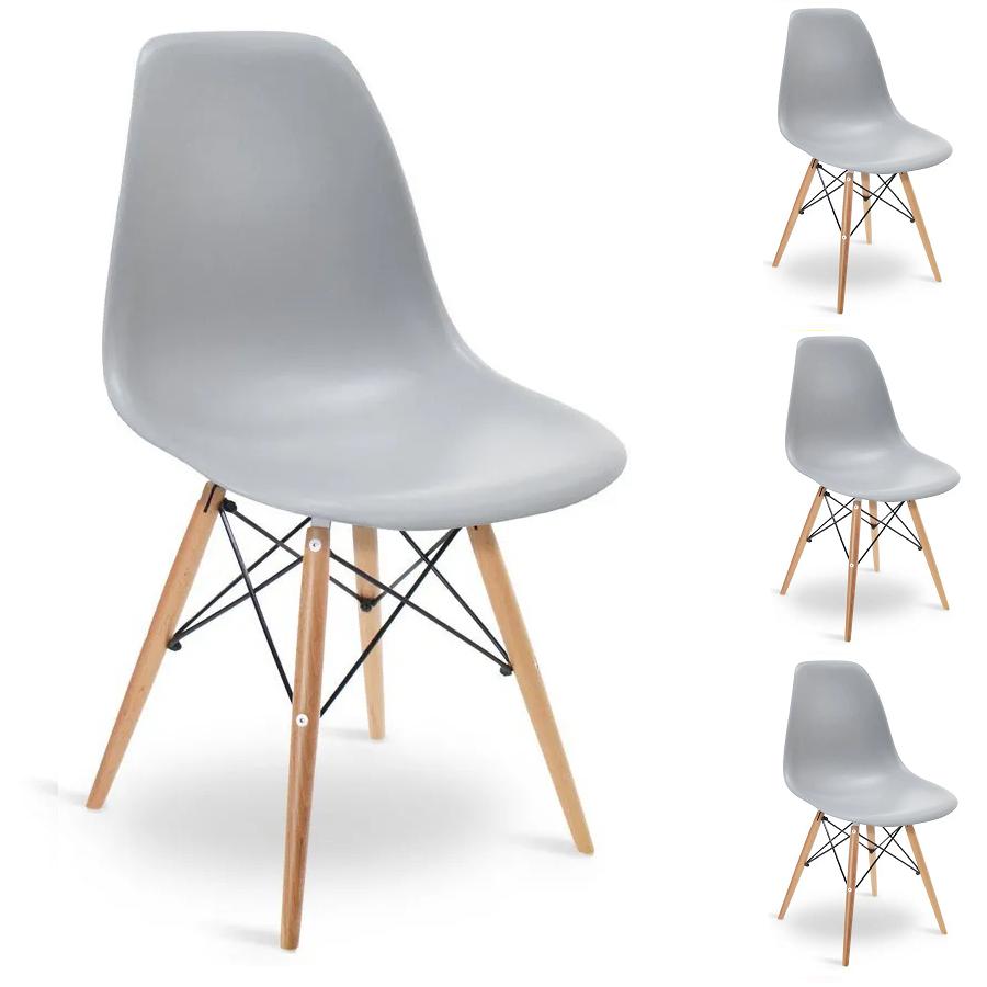 Conjunto 4 Cadeiras Charles Eames Eiffel Wood Cinza