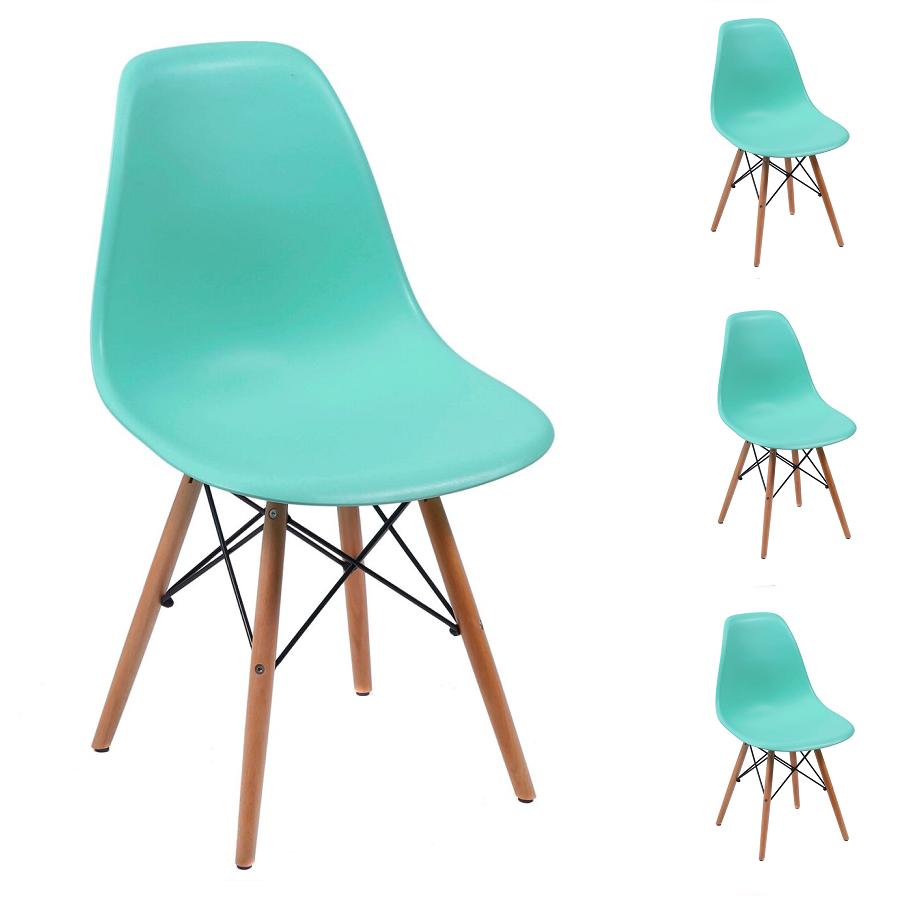 Conjunto 4 Cadeiras Charles Eames Eiffel Wood Verde Tiffany