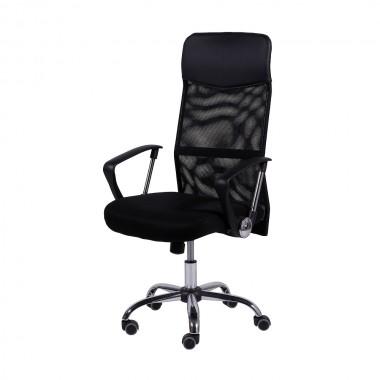 Cadeira De Escritório 3307 Alta Tela Mesh Base Cromada Preta
