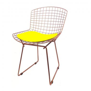 Cadeira Bertóia Aramado Rose Assento Amarelo