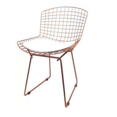 Cadeira Bertóia Aramado Rose Assento Branco