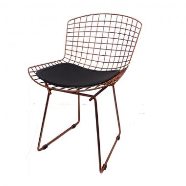 Cadeira Bertóia Aramado Rose Assento Preto