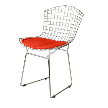 Cadeira Bertóia Aramado Cromado Assento Vermelho