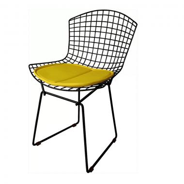 Cadeira Bertóia Aramado Preto Assento Amarelo