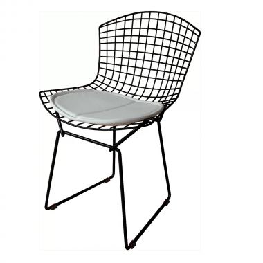Cadeira Bertóia Aramado Preto Assento Branco