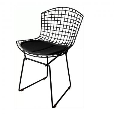 Cadeira Bertóia Aramado Preto Assento Preto
