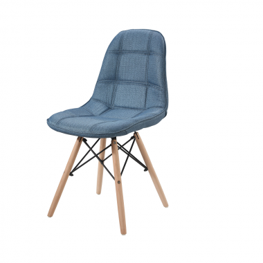 Cadeira Eiffel Estofada Linho Azul