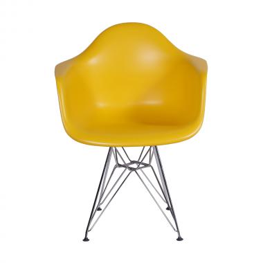 Cadeira Eiffel Com Braço Polipropileno Amarelo Pé Cromado