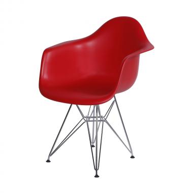 Cadeira Eiffel Com Braço Polipropileno Vermelho Pé Cromado