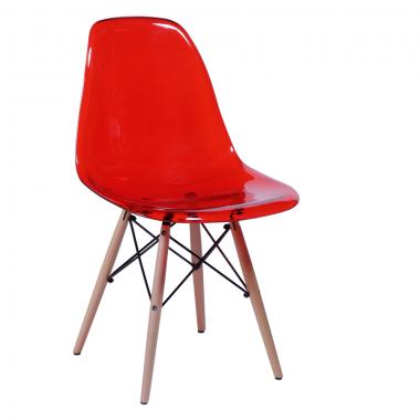 Cadeira Eiffel Eames Policarbonato Vermelho Pé Madeira