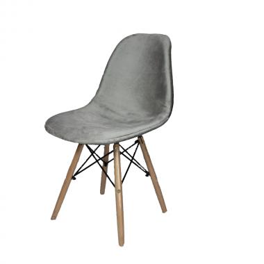 Cadeira Eames Eiffel Estofada Prata
