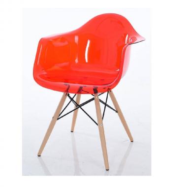 Cadeira Eiffel Com Braço Policarbonato Vermelha Pé Madeira