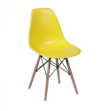 Cadeira Eiffel Eames Polipropileno Amarela Pé Madeira