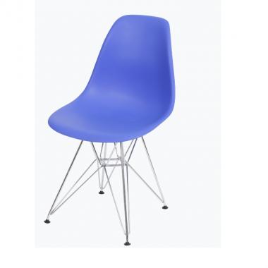 Cadeira Eiffel Eames Polipropileno Azul Escuro Pé Cromado