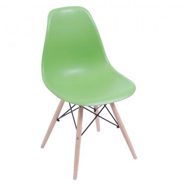 Cadeira Eiffel Eames Polipropileno Verde Pé Madeira