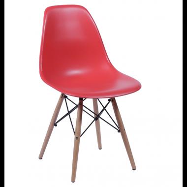 Cadeira Eiffel Eames Polipropileno Vermelha Pé Madeira
