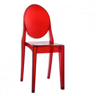 Cadeira Louis Ghost S/ Braço Vermelha Translucida