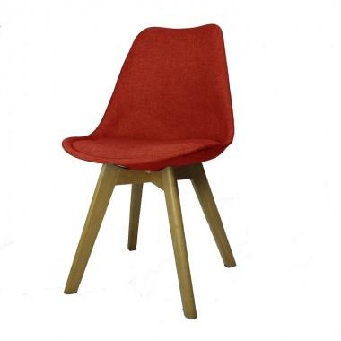 Cadeira Leda Eames Estofada Vermelha Pé Madeira