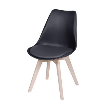 Cadeira Leda Eames Polipropileno Preta Pé Madeira