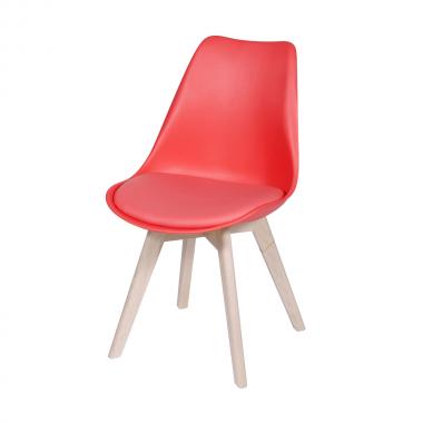 Cadeira Leda Eames Polipropileno Vermelha Pé Madeira