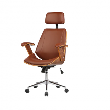 Cadeira Office Lisboa com Encosto Marrom