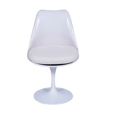 Cadeira Saarinen sem braço Branca Almofada Branca