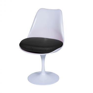 Cadeira Saarinen sem braço Branca Almofada Preta